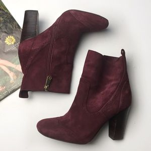Tommy Hilfiger Suede Stacked Heel Ankle Boots